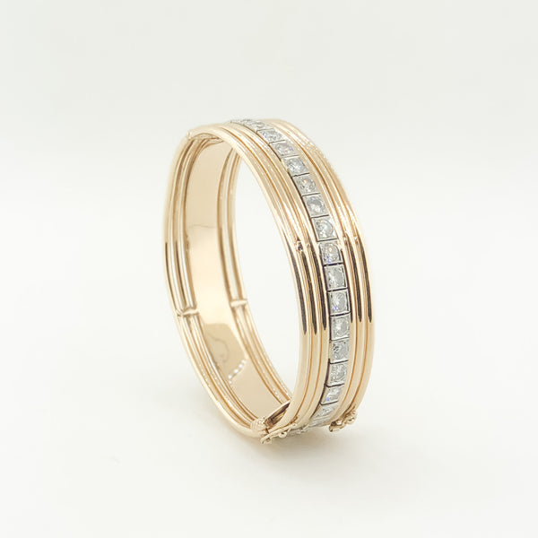 Estate 14kt & Platinum Diamond Bangle Bracelet