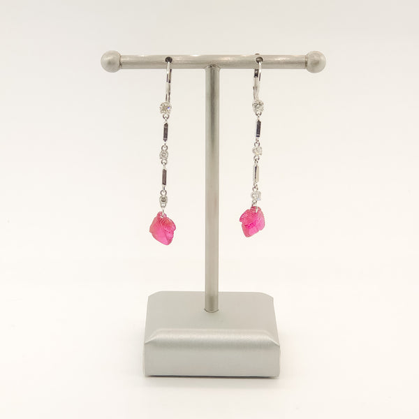 Estate 14kwg Platinum Ruby & Diamond Earrings