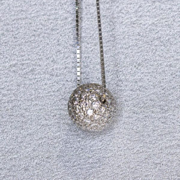 Estate 14k Diamond Ball Pendant