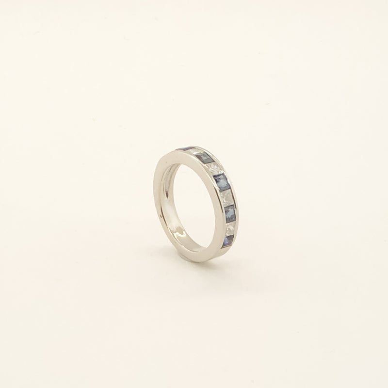 Estate 14kwg Sapphire & Diamond Band On Sale Now