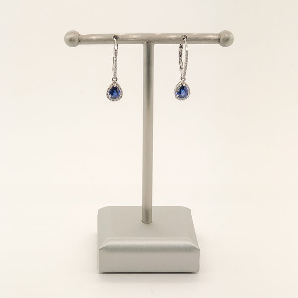 Estate 14kwg Sapphire & Diamond Earrings