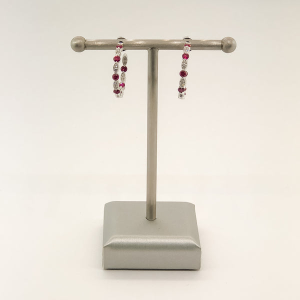 Estate 14kwg Ruby & Diamond Hoop Earrings