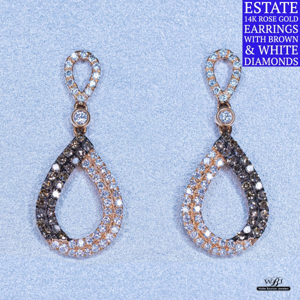 Estate 14k Brown & White Diamond Earrings