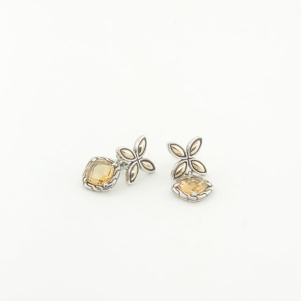 Estate Sterling Silver & 18kyg Citrine Earrings