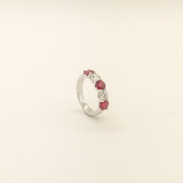 18kwg, Ruby & Diamond Band On Sale Now