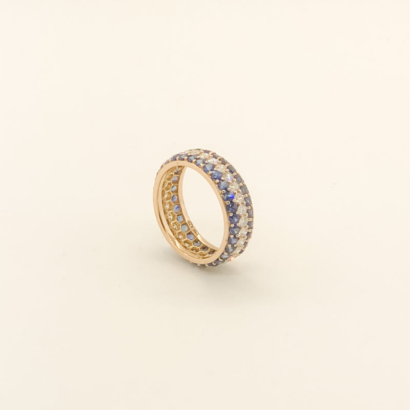 18kt Rose Gold, Sapphire & Diamond Eternity Band On Sale Now