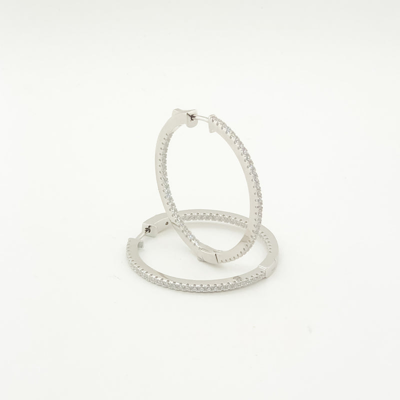 New Sterling Silver & CZ Inside Out Hoops On Sale Now