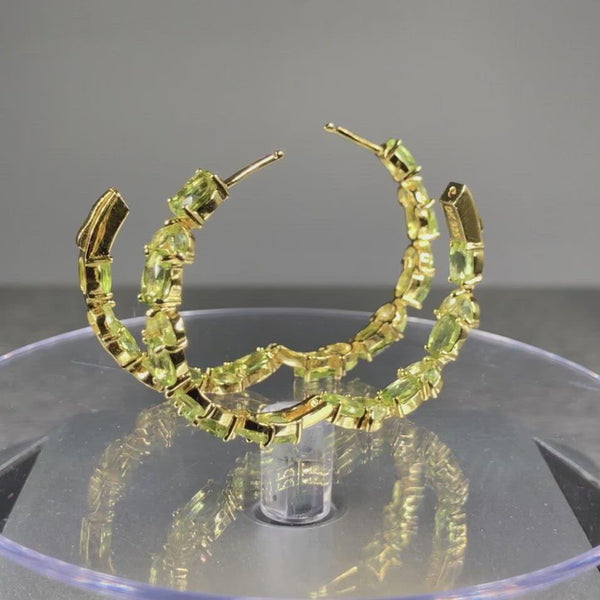 Estate Goldplated Sterling Silver Peridot Hoop Earrings