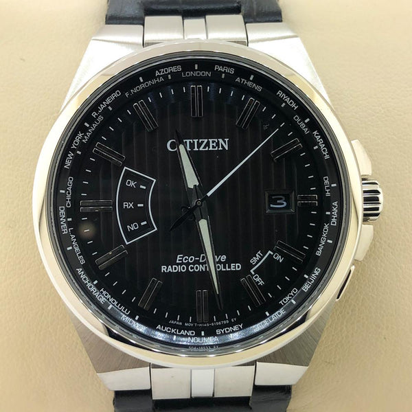 Citizen Men's World Perpetual A-T Black Eco-Drive Watch - CB0160-00E - Walter Bauman Jewelers