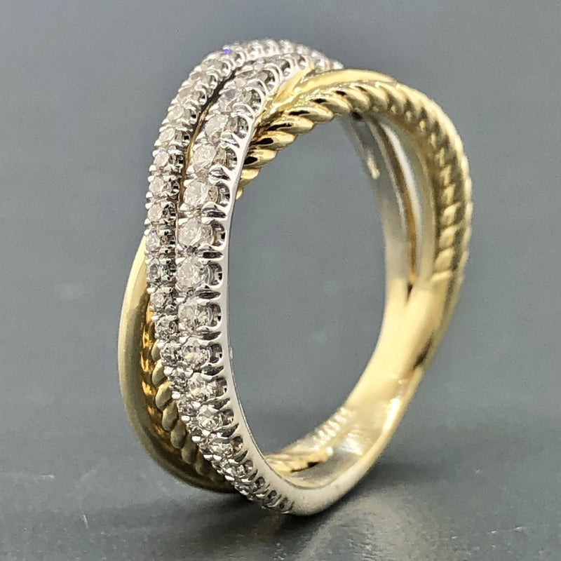 Estate 14k Two-Tone Gold 0.39cttw Diamond Crossover Ring - Walter Bauman Jewelers