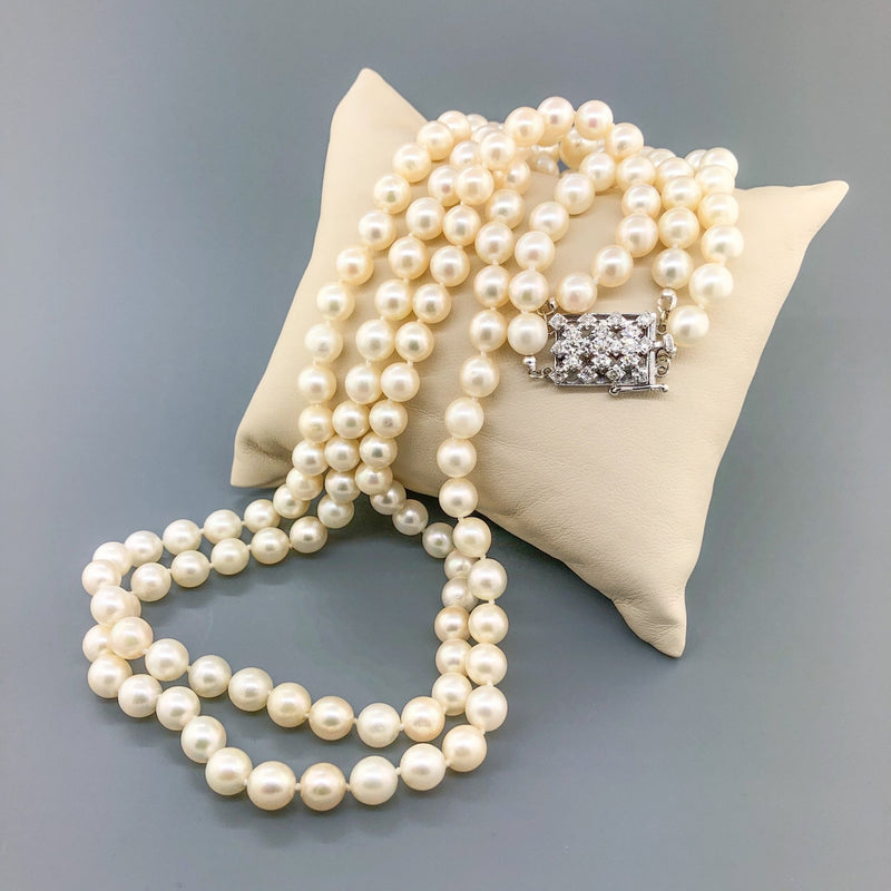 "Estate 14k WG Diamond Clasp Double Strand 22"" 7.5mm Pearl Necklace - Walter Bauman Jewelers"