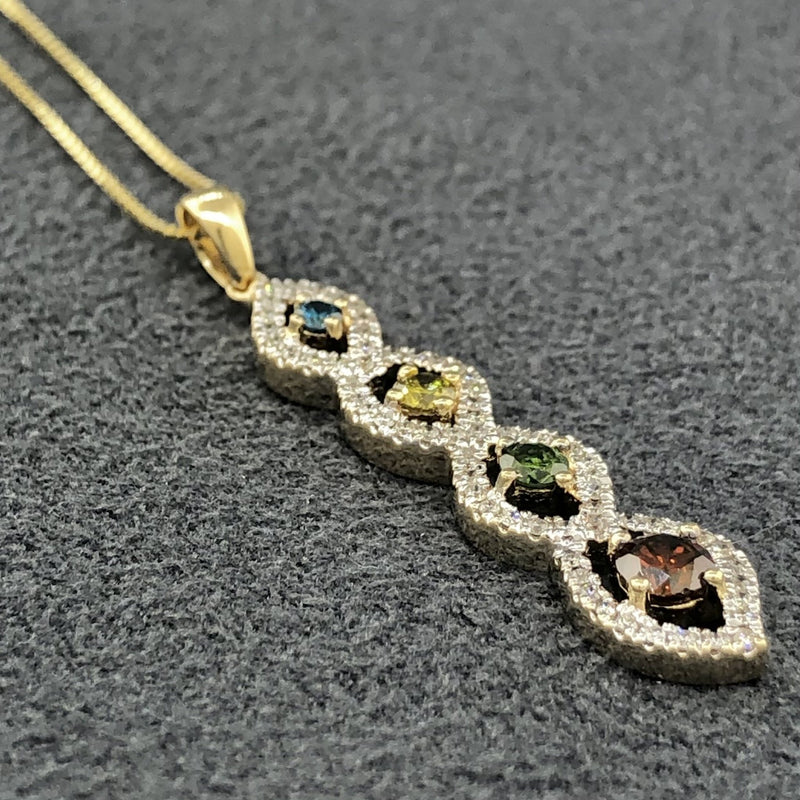 Estate 14k YG 0.66cttw fancy colored diamond pendant - Walter Bauman Jewelers