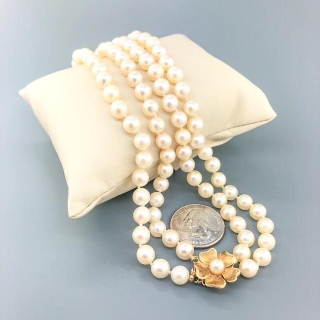 "Estate 14k YG 16"" Double Strand Pearl Necklace with Flower Clasp - Walter Bauman Jewelers"