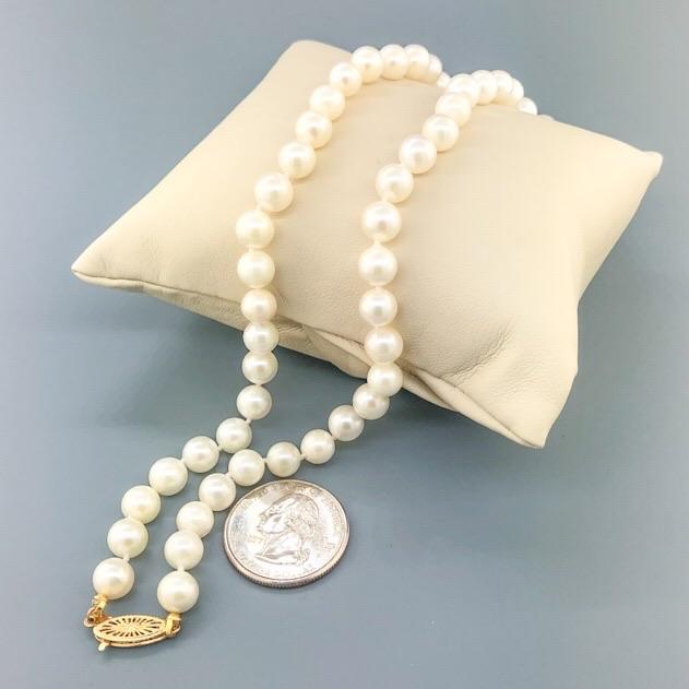"Estate 14k YG 18"" Pearl Necklace - Walter Bauman Jewelers"
