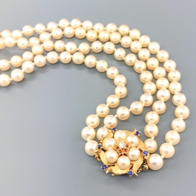 Estate 14k YG Double Strand Pearl Necklace with Diamond & Sapphire Flower Clasp - Walter Bauman Jewelers