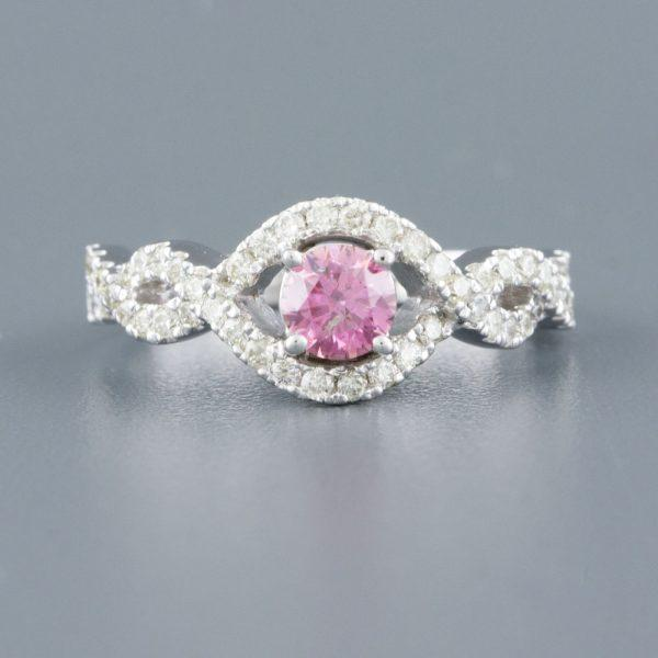 Estate 14kt. White Gold Pink Diamond Ring - Walter Bauman Jewelers