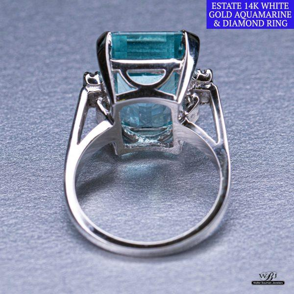 Estate 14kwg Aquamarine & Diamond Ring - Walter Bauman Jewelers