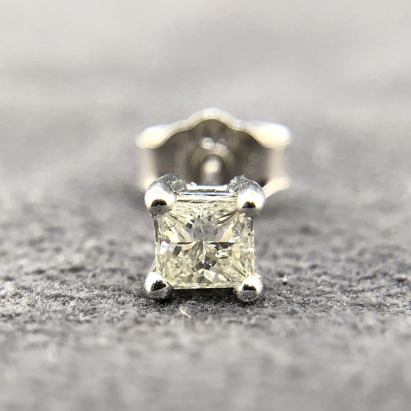Estate 14kwg Single 0.16ct G-H/SI1 Princess Diamond Stud - Walter Bauman Jewelers