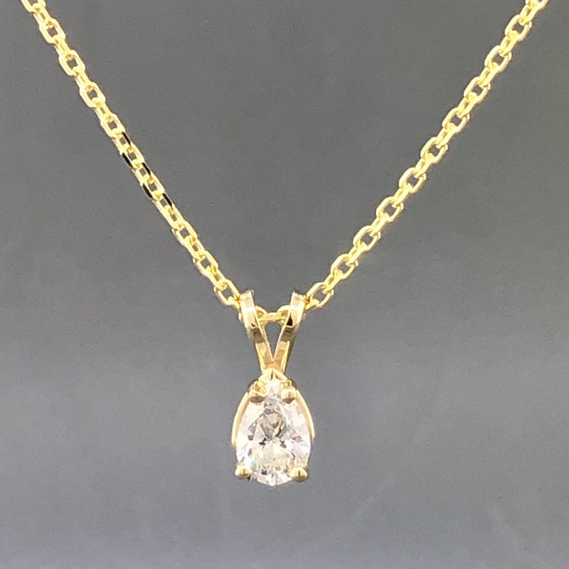 Estate 14kyg 0.63ct H-I/I1 Pear Cut Diamond Solitaire Necklace - Walter Bauman Jewelers