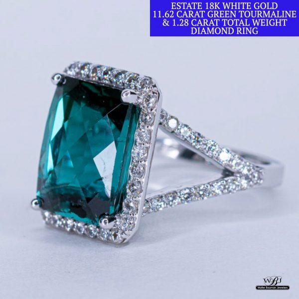 Estate 18k Green Tourmaline & Diamond Ring - Walter Bauman Jewelers