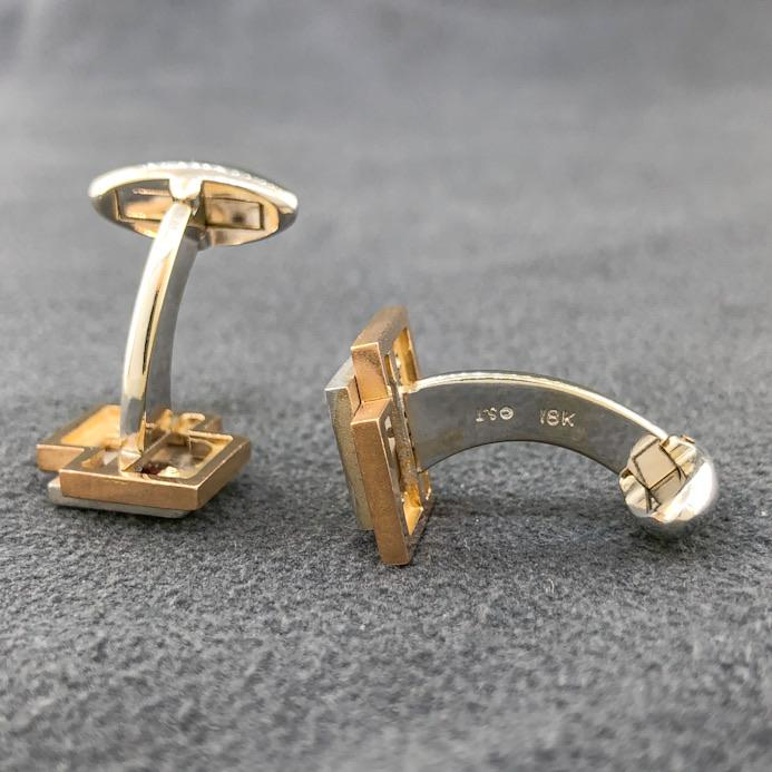 Estate 18k TT Cufflinks with Rubies - Walter Bauman Jewelers