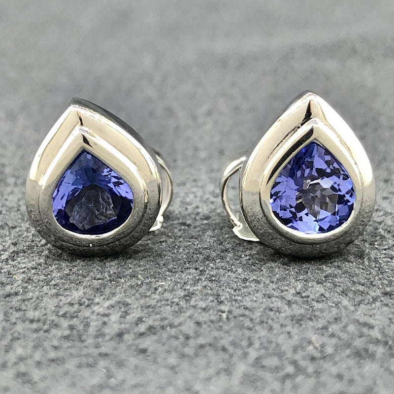 Estate 18k WG Pear Tanzanite Earrings - Walter Bauman Jewelers