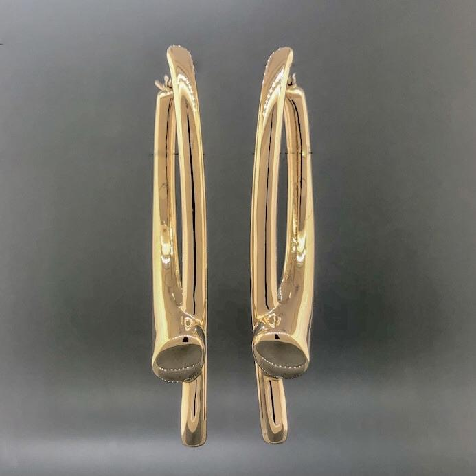 Estate 18k YG Large Freeform Hoop Earrings - Walter Bauman Jewelers