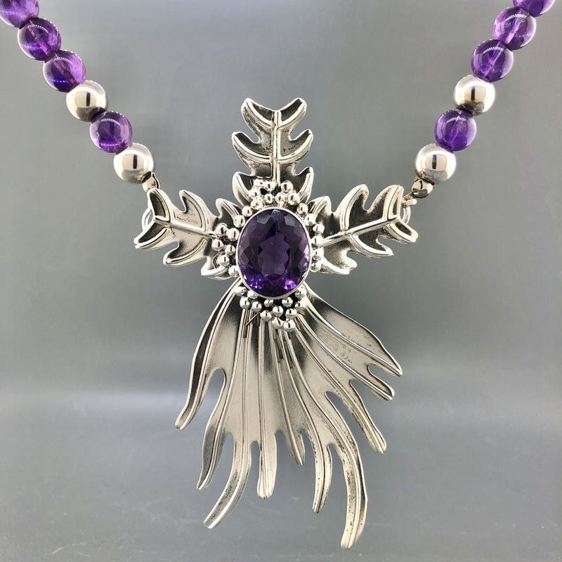 Estate Silver & Amethyst Free Form Beaded Necklace - Walter Bauman Jewelers