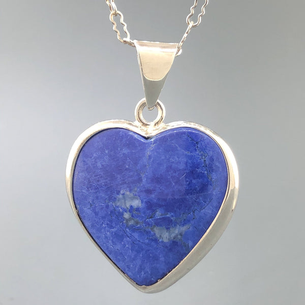 Estate Sterling Silver 22ct Azurite Heart Necklace - Walter Bauman Jewelers