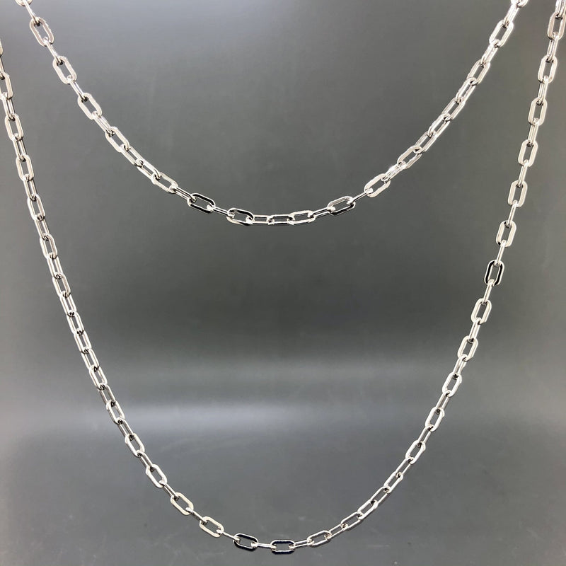 "Estate Sterling Silver 36"" Paperclip Chain - Walter Bauman Jewelers"