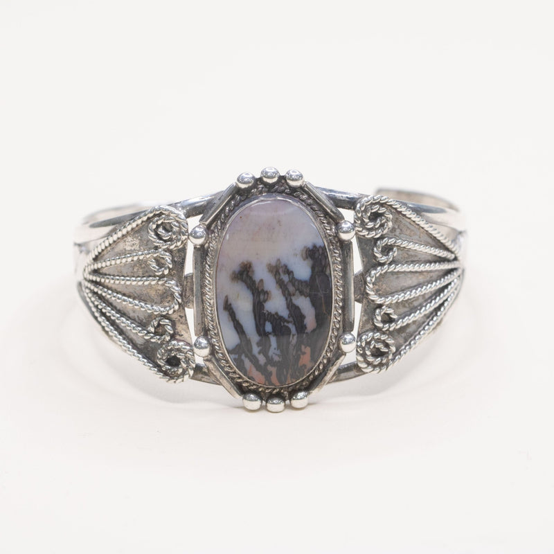 Estate Sterling Silver Agate Cuff - Walter Bauman Jewelers