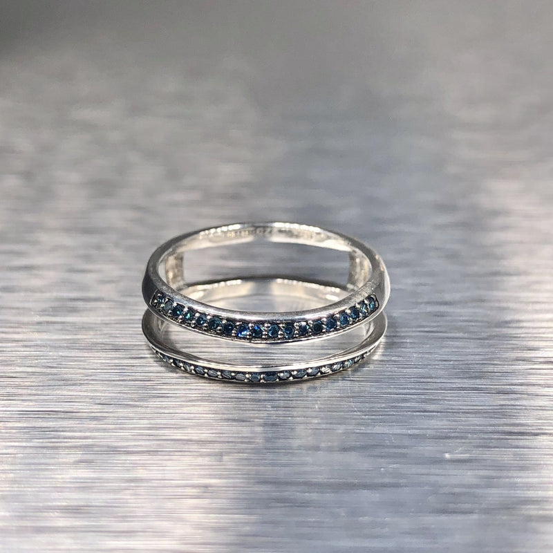 Estate Sterling Silver Blue Diamond Insert Ring - Walter Bauman Jewelers