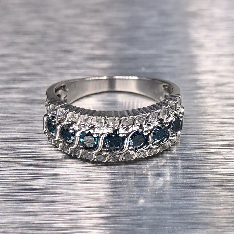 Estate Sterling Silver Blue & White Diamond Band - Walter Bauman Jewelers