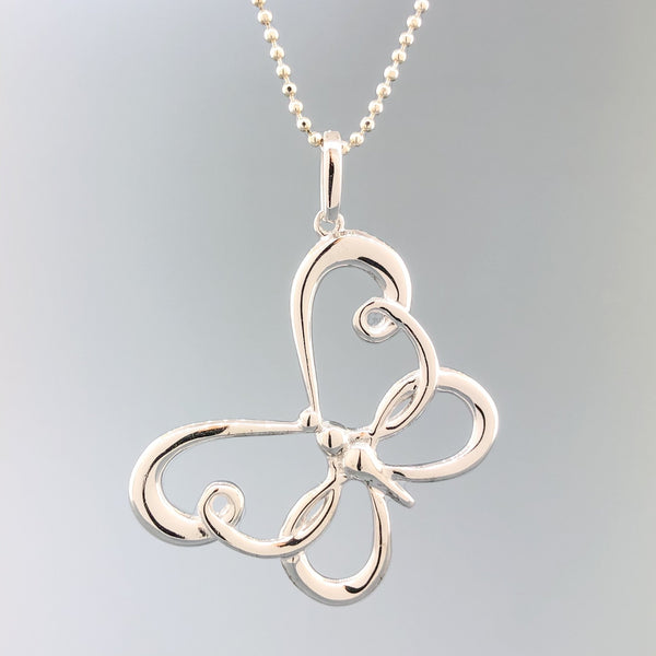Estate Sterling Silver Butterfly Necklace - Walter Bauman Jewelers