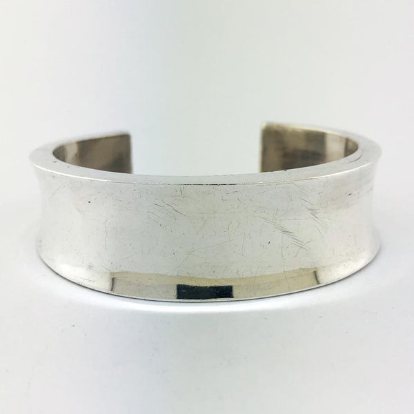 Estate Sterling Silver Concave Cuff Bracelet - Walter Bauman Jewelers