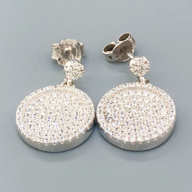 Estate Sterling Silver & CZ Circle Earrings - Walter Bauman Jewelers