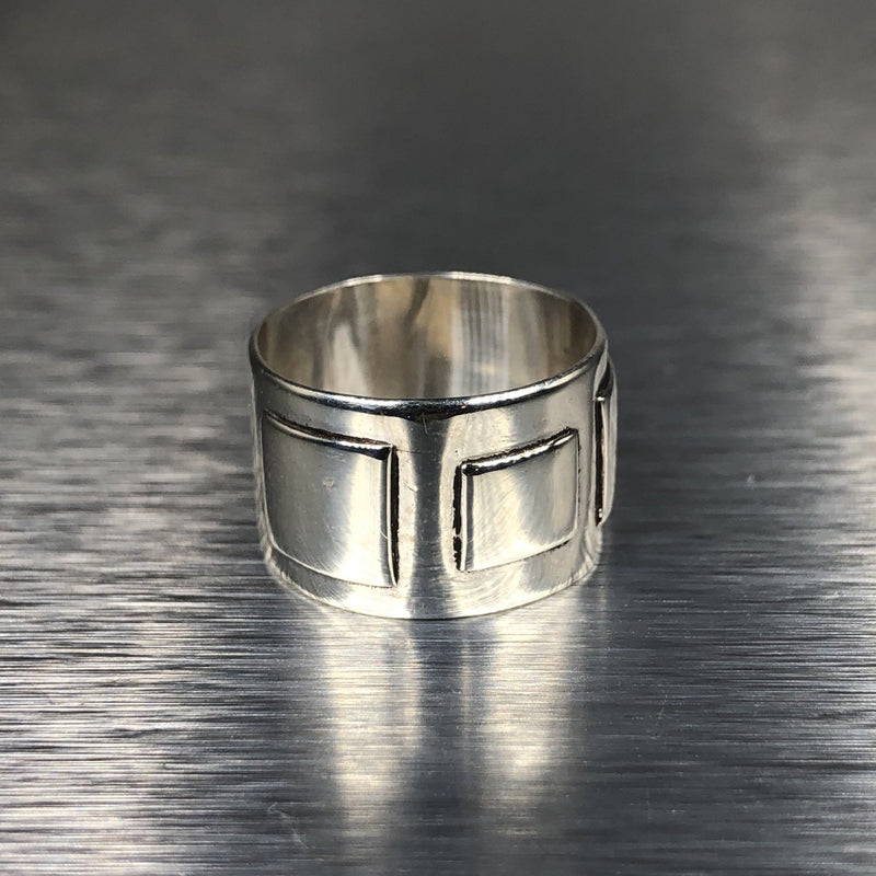 Estate Sterling Silver Fancy Wide Ring - Walter Bauman Jewelers