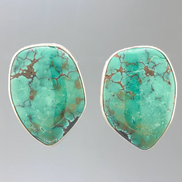Estate Sterling Silver Freeform 33.7cttw Turquoise Earrings - Walter Bauman Jewelers