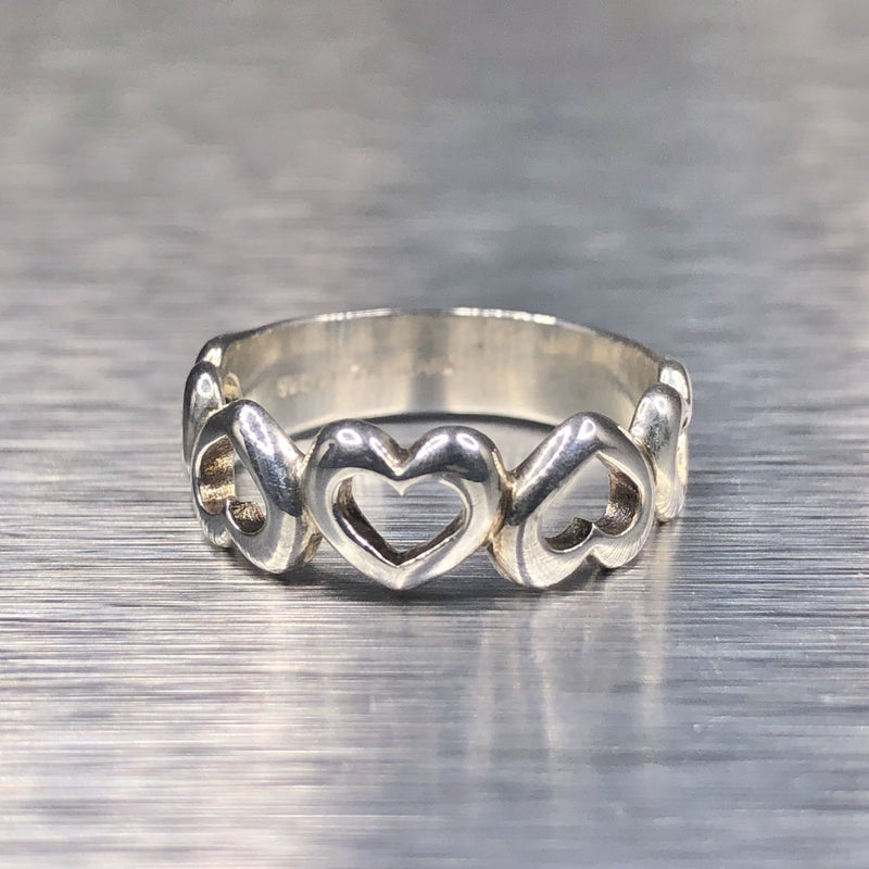 Estate Sterling Silver Heart Band - Walter Bauman Jewelers