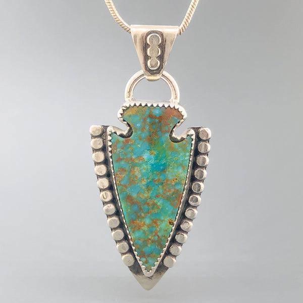 Estate Sterling Silver Kingman Turquoise Arrowhead Necklace - Walter Bauman Jewelers