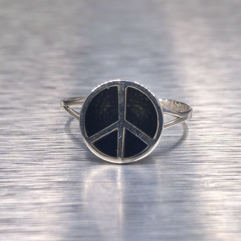 Estate Sterling Silver Peace Sign Ring - Walter Bauman Jewelers