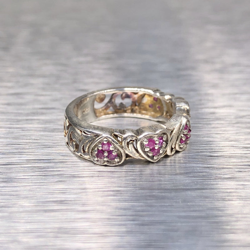Estate Sterling Silver Ruby Heart Ring - Walter Bauman Jewelers