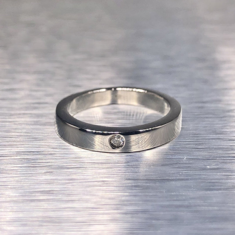 Estate Sterling Silver Single CZ Band - Walter Bauman Jewelers