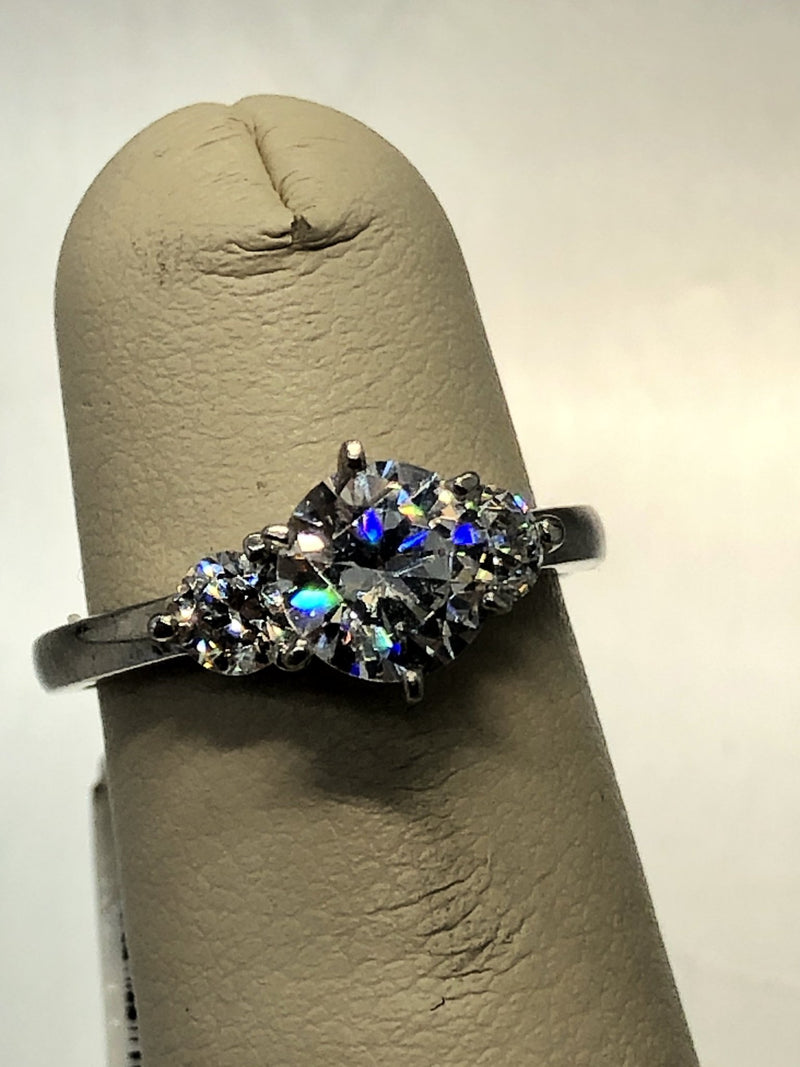 Estate Sterling Silver Three Round Cubic Zirconia Ring - Walter Bauman Jewelers