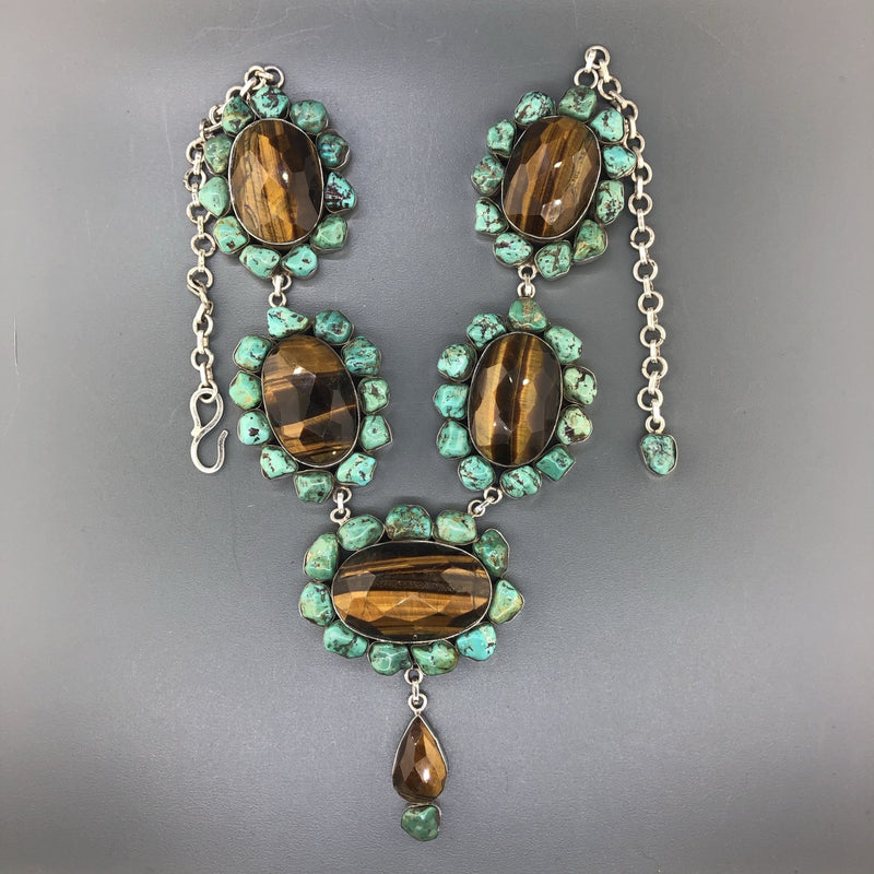 Estate Sterling Silver Tigers-eye & Turquoise Necklace - Walter Bauman Jewelers