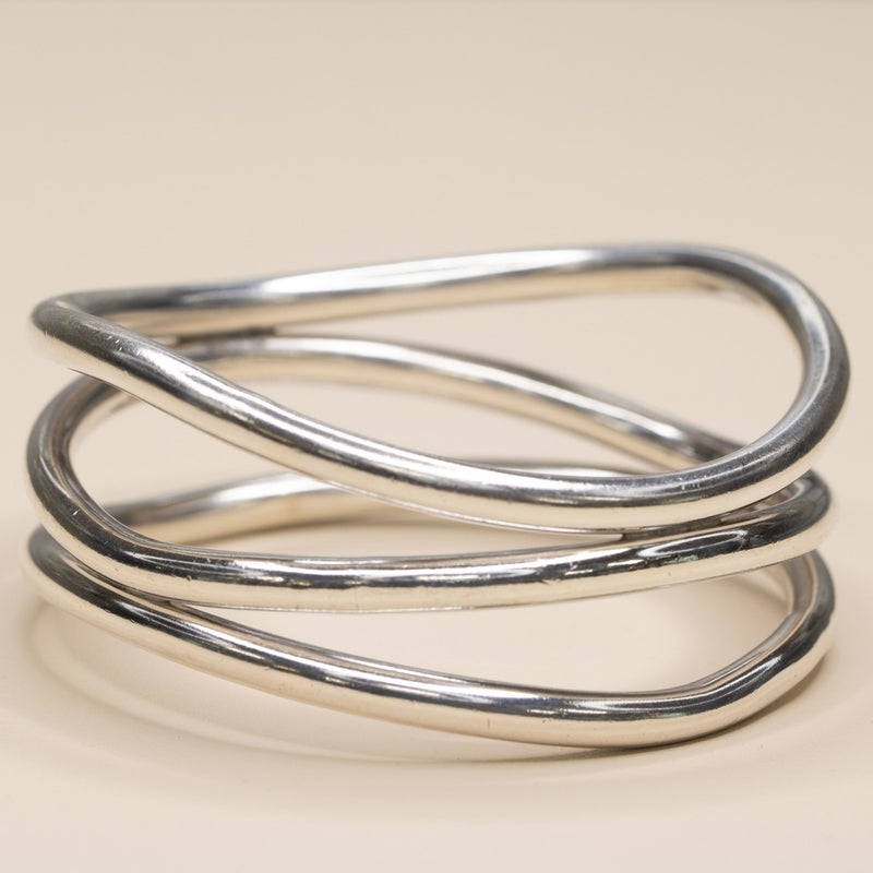 Estate Sterling Silver Triple Bangle Bracelet - Walter Bauman Jewelers