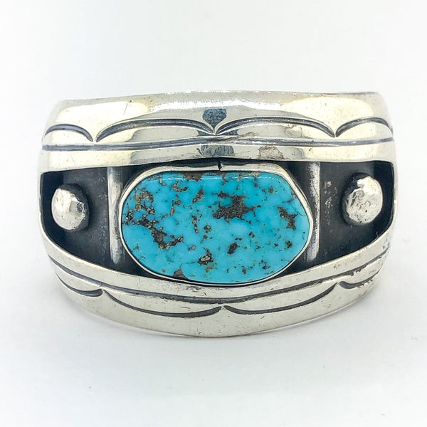 Estate Sterling Silver Turquoise Cuff Bracelet - Walter Bauman Jewelers