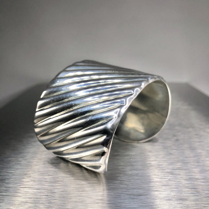 Estate Sterling Silver Wide Cuff - Walter Bauman Jewelers