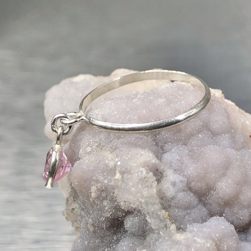 Estate Sterling Sterling Pink CZ Heart Dangle Ring - Walter Bauman Jewelers