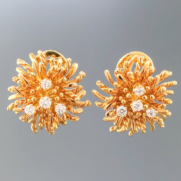 Estate Tiffany Co. 18k YG Sea Anemone 0.32cttw Diamond Earrings - Walter Bauman Jewelers
